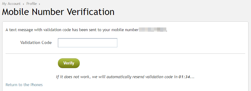 entering verification code